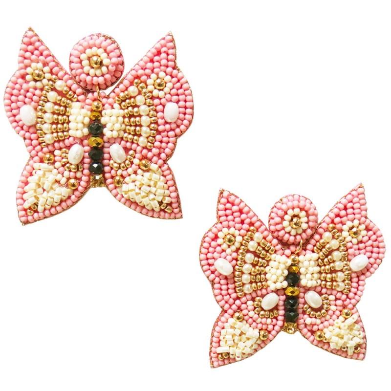 BEADED BUTTERFLY STATEMENT EARRINGS - PINK