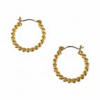 BEADED DOTTED HOOP EARRINGS - GOLD