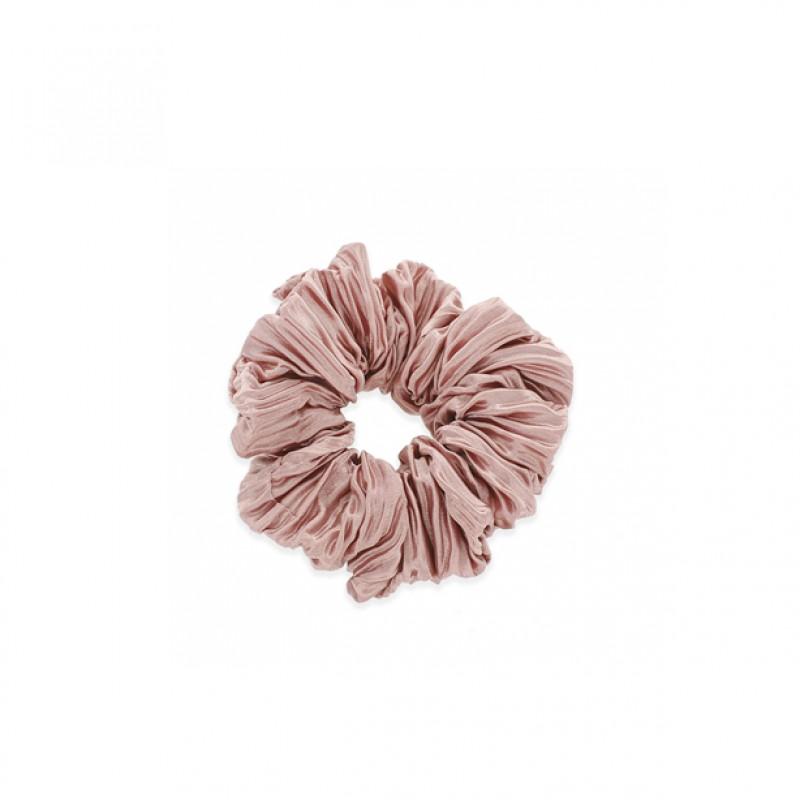 PLEATED SATIN HAIR SCRUNCHIE - MAUVE PINK