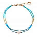 PEARL CHARM BEADED DOUBLE LAYERED ANKLET - TURQUOISE