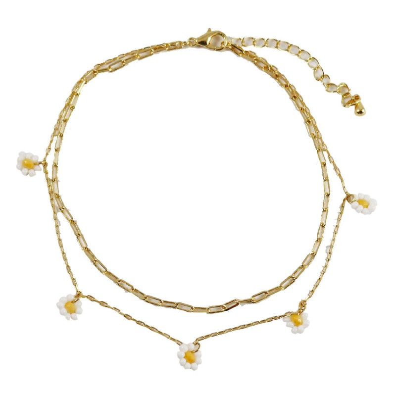 DAISY DOUBLE LAYERED ANKLET - WHITE
