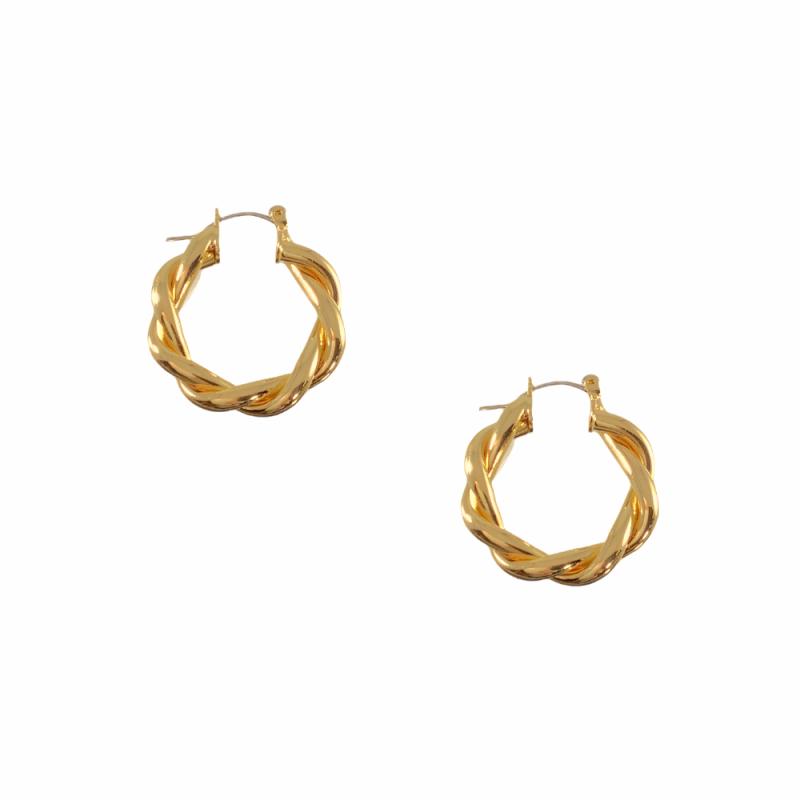 CROISSANT TWISTED HOOP EARRINGS - GOLD
