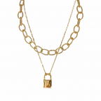 LOCKET DOUBLE LINK LAYERED NECKLACE - GOLD