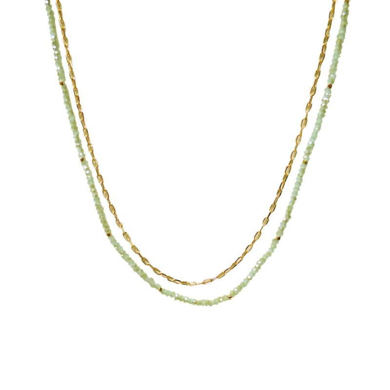 BEADED DOUBLE LAYERED NECKLACE - MINT