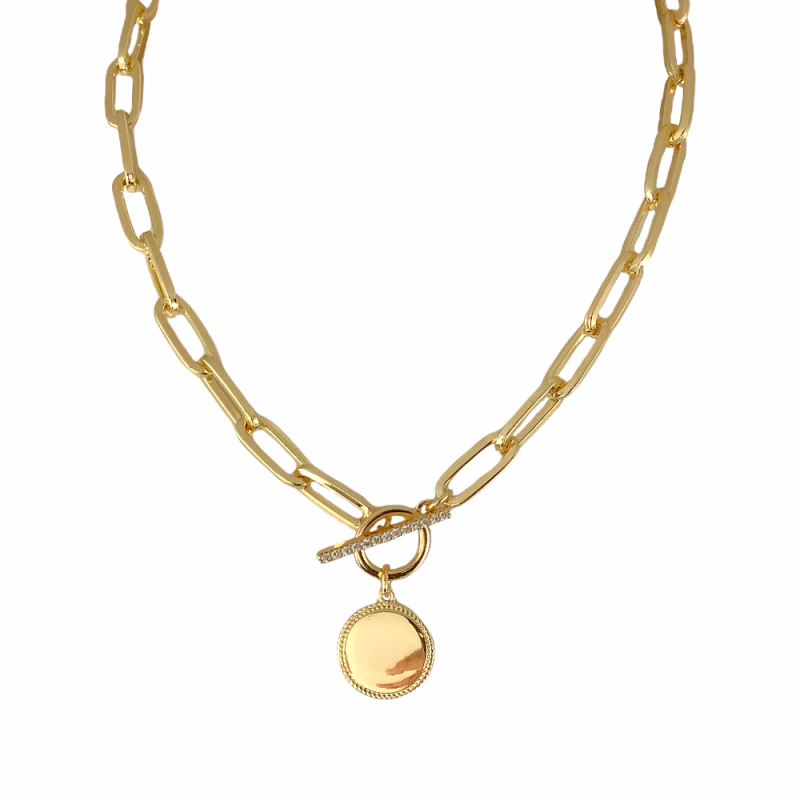 DISC LINK CHAIN NECKLACE - GOLD
