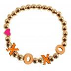 XOXO BEADED BRACELET - GOLD