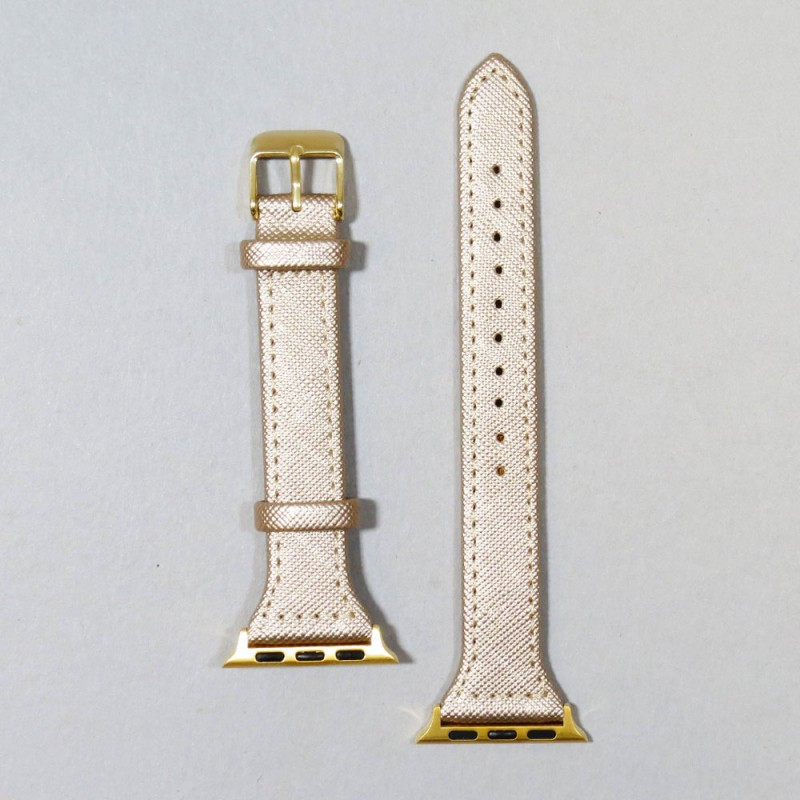 LEATHER SMART WATCH BAND - GOLD
