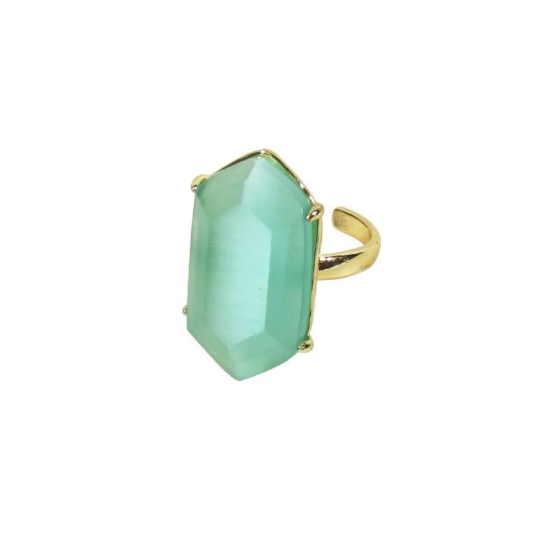 DIAMOND SHAPE STONE RING - CLEAR QUARTZ