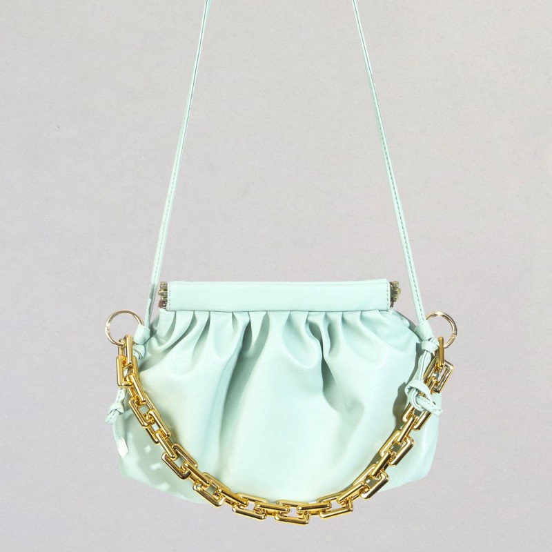 CHAIN LEATHER STRAP BAG - MINT