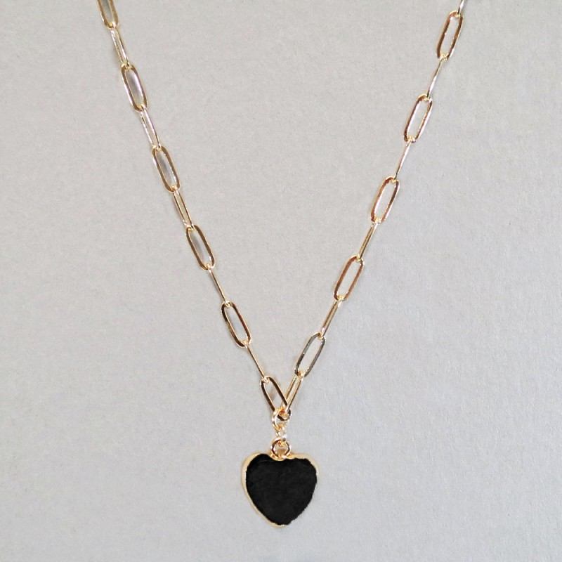 SEMI PRECIOUS HEART STONE NECKLACE - BLACK