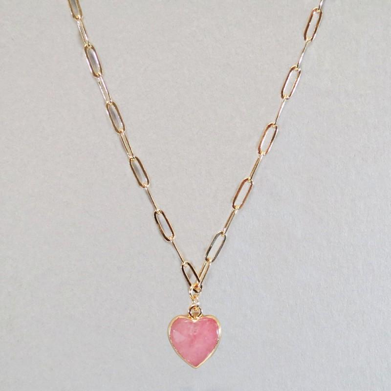 SEMI PRECIOUS HEART STONE NECKLACE - LIGHT PINK